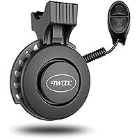 TWOOC Timbre de bicicleta eléctrico,Campana de bicicleta,USB recargable 120dB Bell con 4 modos de sonido IP65 resistente al agua timbre de para ciclismo (22-31,8 mm), Negro