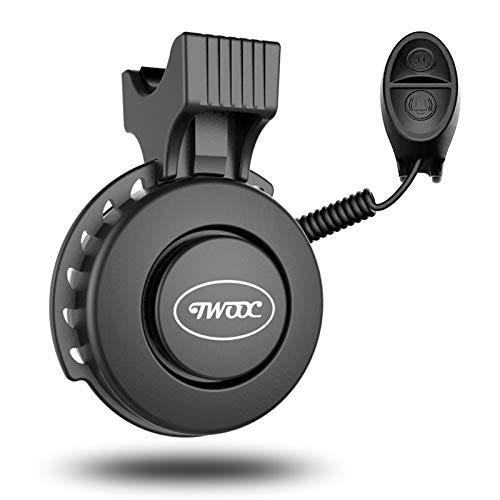 TWOOC Fahrradklingel,Aufgerüstet Einstellbare Lautstärke USB Wiederaufladbar Elektrische Fahrradhupe IP65 Wasserdicht und staubgeschützt Fahrrad bell mit 4 Stichhaltige Modi für MTB/Rennrad/BMX
