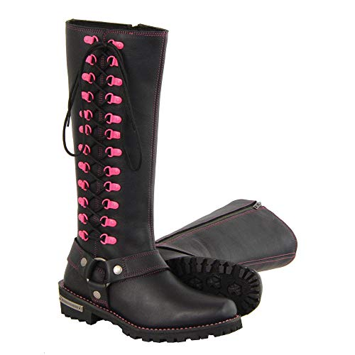 Milwaukee Leather Women's Leather Harness Boots with Fuchsia Accent Loops