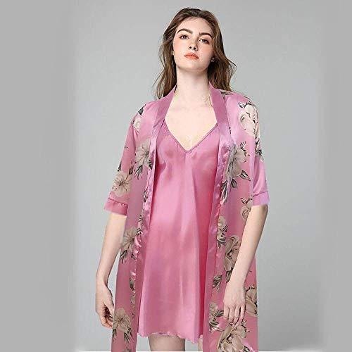 Sexy Nachthemd Für Damen,2 Pcs Satin Nachtwäsche Rayon Rose Pink Print Casual Nachthemd Kimono Nachthemden Casual Camisole Babydoll Bademantel Für In Flitterwochen Home Clothing, XL