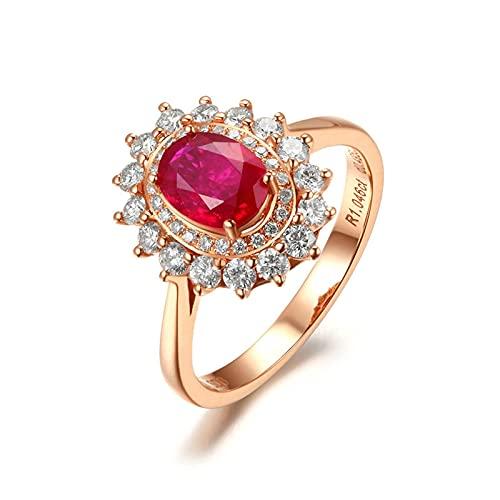 Amody Anillos Mujer Oro 18 Kilates, Anillo para Compromiso Girasol con Diamante y Rubí 1ct Tamaño 6,75