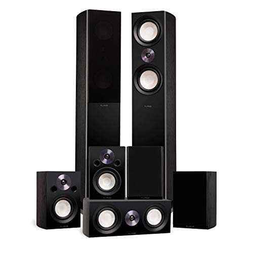 Fluance Reference Surround Sound Home Theater 7.0 Channel Speaker System Including 3-Way Floorstanding Towers, Center Channel, Surrounds and Rear Surrounds - Black Ash (X870BR)