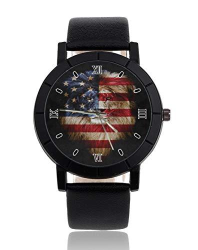 Armbanduhr mit amerikanischer Löwen-Flagge, personalisierbar, leger, schwarzes Lederband, Armbanduhr für Männer und...