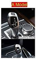 Wishful 車のスタイルスタイルのギアシフトハンドルスリーブボタンパネルカバーステッカートリムフィットBMW 5シリーズF18オートインテリアアクセサリー (Color Name : A Model Silver)