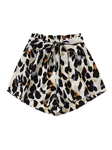 MakeMeChic Women Plus Allover Print Elastic Paperbag Waist Self Tie Summer Beach Shorts Multi-3 2XL