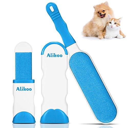 Alihoo Bürste Haarentferner, Pet Pinsel,Neu mit doppelseitiger Fusselbürste und selbstreinigender Basis,perfekt für Möbel,Teppich (Large&Travel Size Brush)