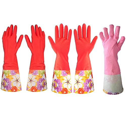 Kitchen Rubber Cleaning Gloves with Warm Lining Household...