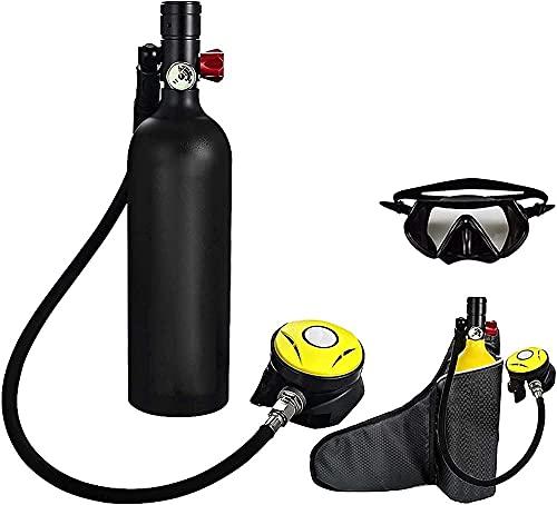 Equipo de Buceo de Buceo 1l Buceo Tanque de Oxígeno Aliento Dispositivo subacuático 15-20mins Capacidad Recargable Cilindro de oxígeno de Tanque de Aire vacío (Color: Negro) (Color: Verde)-Blacka