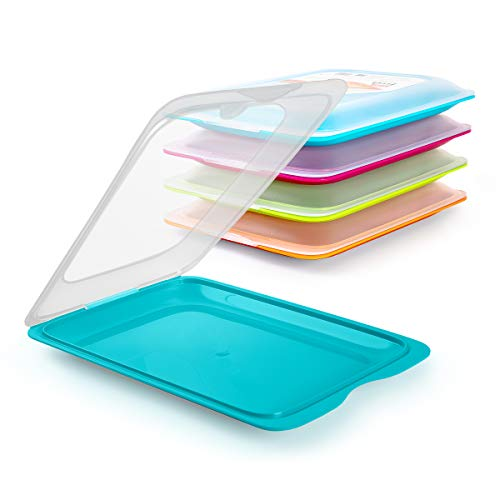 TATAY Set 4 Porta Salumi e Alimenti Fresh in Colori Blu, Arancione, Verde e Rosa, Misure 17 x 3.2 x 25.2 cm (5X Turchese)