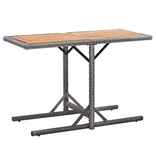 vidaXL Bois d'Acacia Table de Jardin Table de Terrasse Table de Patio Table de Bistro Table d'Extérieur Arrière-Cour Anthracite Résine Tressée