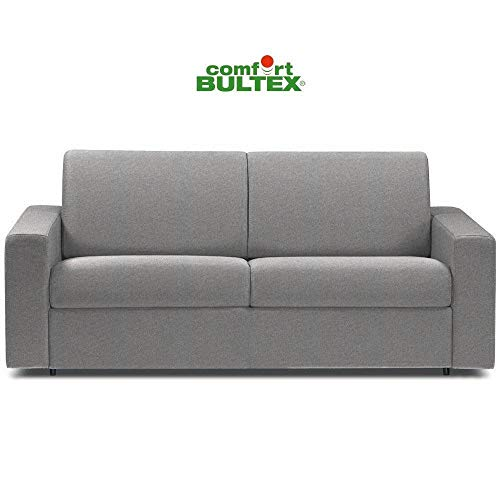 ITALIAN SPIRIT Canapé Convertible rapido CRÉPUSCULE Matelas 140cm Comfort BULTEX® Tissu Tweed Gris Clair