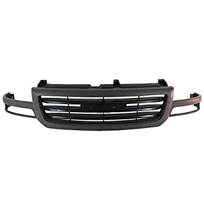 Titanium Plus Autoparts 2003-2007 Compatible With GMC Sierra 1500 Classic Sierra 1500 HD Classic Sierra 1500 HD Sierra 1500 Sierra 2500 Front Upper Grille GM1200476 Texture Dark Gray/high Light Black