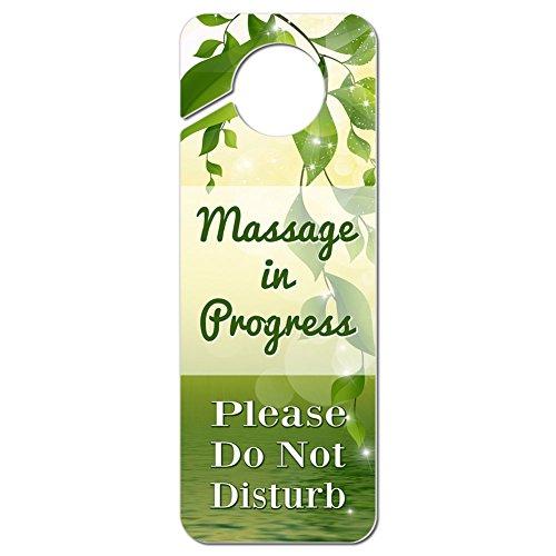 Massage in Progress Please Do Not Disturb Plastic Door Knob Hanger Warning Room Sign - Green Leaves and Water
