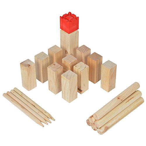 Ocean 5 Kubb Deluxe - Original Wikinger Wurfspiel - Premium FSC® Holzspiel im Stoffbeutel mit massiven Figuren - Schwedenschach Holz Outdoor Spiel Wurf Schach Spiele