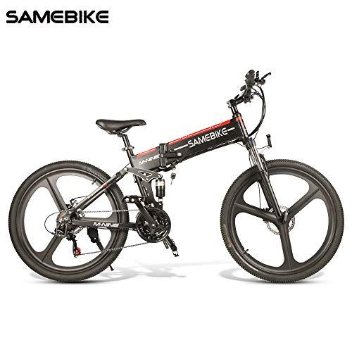 OUXI LO26 Bicicletta Elettrica, 26 Pollici Bici Elettrica Pieghevole da 48V 10.4Ah 350W Mountain Bike da Uomo-Nero