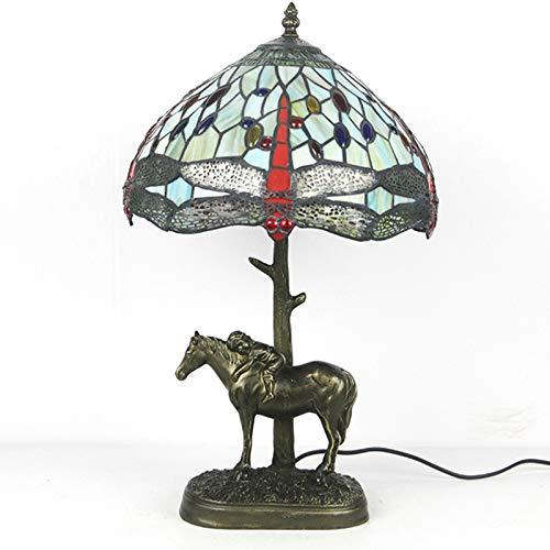 Tiffany-Stil Lampen Glasmalerei Tisch Schreibtisch Leselampe Kristallkorn Meer Libelle Schatten Für Wohnzimmer...