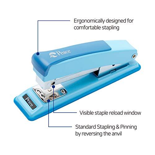 Peace Stapler with 2000 Staples, 2 Pack, Desk Metal Stapler, 25 Sheet Capacity, Standard Commercial Stapler, 100% Made in Korea, Blue Stapler Photo #3