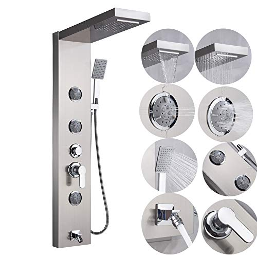 Votamuta Brushed Nickel Shower Panel Wall Mounted 3 Rotate Massage Jets Rainfall Waterfall Shower Head Hand Spray Single Lever Tub Spout Shower Faucet System