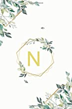 "N: ν Nu, Initial Monogram Greek Alphabet Letter N Nu, Cute Cover Leaves Decoration, Unlined Notebook/Journal, 100 Pages, 6""x9"", Soft Cover, Matte Finish"