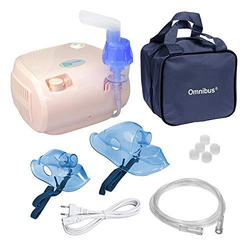 Omnibus BR-CN116B - Nuevo inhalador compresor Inhalador compacto para inhaladores bebe electrico (Rosa pálido)