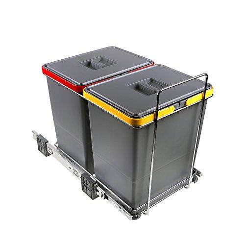 ELLETIPI Ecofil PF0134C2Papelera para Reciclaje extraíble por la Base, plástico y Metal, Color Gris, 30x 45x 36cm