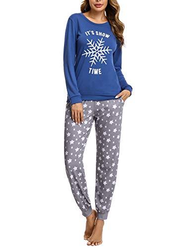 Doaraha Conjunto de Pijamas de Algodón para Mujer Camiseta y Pantalones Estrellas Copo de Nieve Ropa de Dormir de Manga Larga Suave Cómodo Loungewear (A# Azul, S)