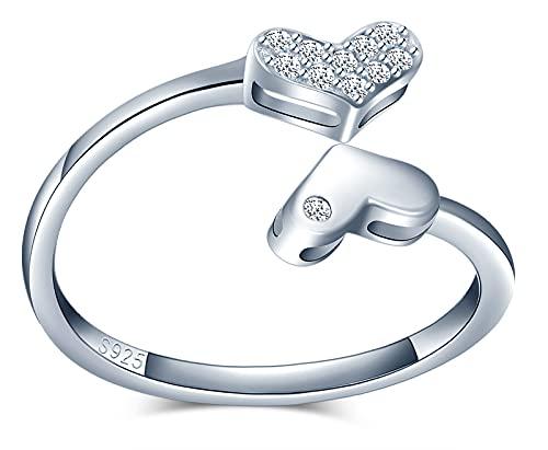 CPSLOVE Anelli cuore da donna ragazza, anello in argento 925, Anello cuore carino, Anello di coda, fede nuziale, anello di fidanzamento, anello aperto, circonferenza delle dita adatto:48,5-57mm