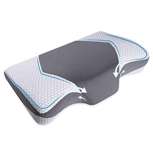 Mkicesky Cervical Pillow for Sleeping, Contour Pillow for Neck and Shoulder Pain, Ergonomic Neck Support Pillow, Side Sleeper Pillow, Orthopedic Sleeping Pillow for Back, Side and Stomach Sleeper