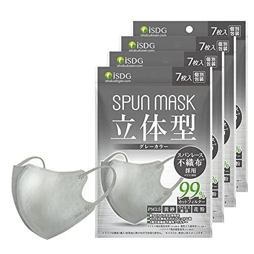 ISDG 医食同源ドットコム 立体型スパンレース不織布カラーマスク SPUN MASK (スパンマスク) 個包装 7枚入り グレー 4袋セット