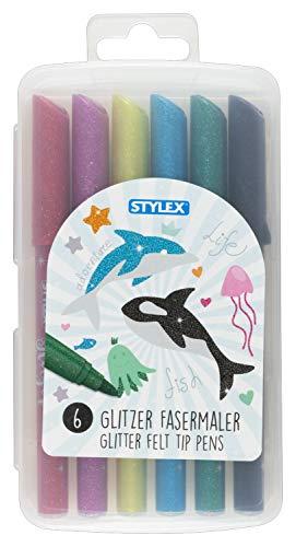 Stylex 64016 - Glitzer Fasermaler, Fasermalstifte für Kinder, 6 Farben in wiederverschließbarer Box, zum Malen, Basteln und Zeichnen