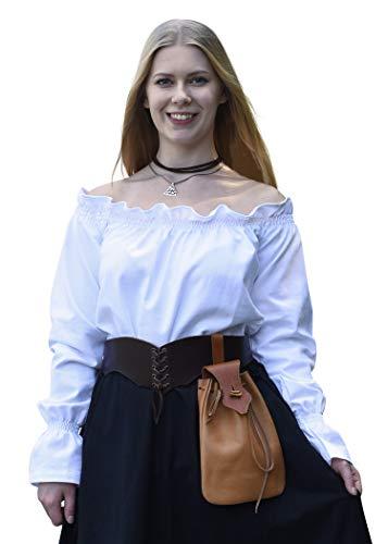Battle-Merchant Mittelalter Langarm Carmenbluse aus Baumwolle für Damen | schulterfreie langärmlige Boho Bluse S-XXL | Halloween Karneval Kostüm (Weiß, L)