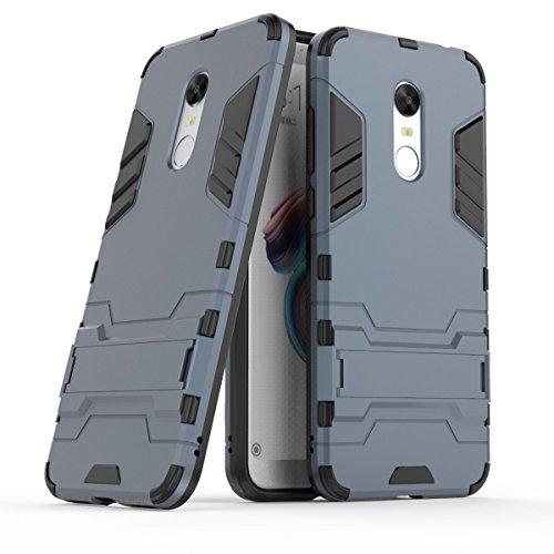 Funda para Xiaomi Redmi 5 Plus (5,99 Pulgadas) 2 en 1 Híbrida Rugged Armor Case Choque Absorción Protección Dual Layer Bumper Carcasa con pata de Cabra (Dorado)
