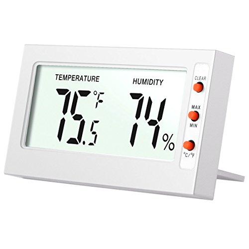 AMIR Hygrometer Thermometer, Digital Hygrometer Luftfeuchtigkeit, Mini Thermo Hygrometer, Zimmerthermometer, mit Genaue Messwerte und Min/Max Aufzeichnungen, für Autos, Gewächshaus, Haus, Büro (Weiß)