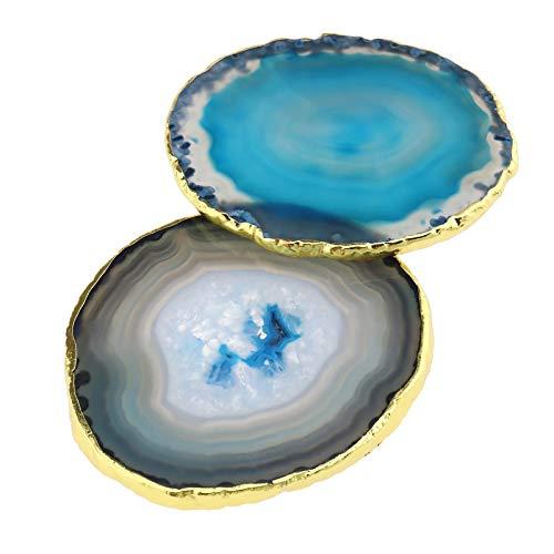 Set di 2 sottobicchieri in pietra con fette di agata da 6 a 8 cm, tappetino naturale, accessori da tavola per bevande per sottobicchieri in agata bar, birra, caffè