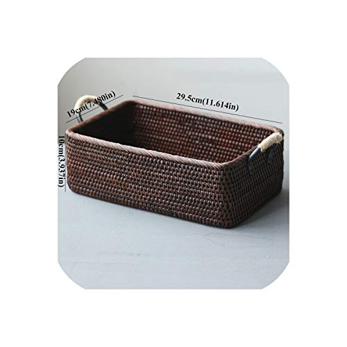 Handmade Weaving Rattan Wicker Basket Straw With Handle For Home Fruit Food Plate Bread Box Picnic Organizer Round Square,29.5X19X10.5L063