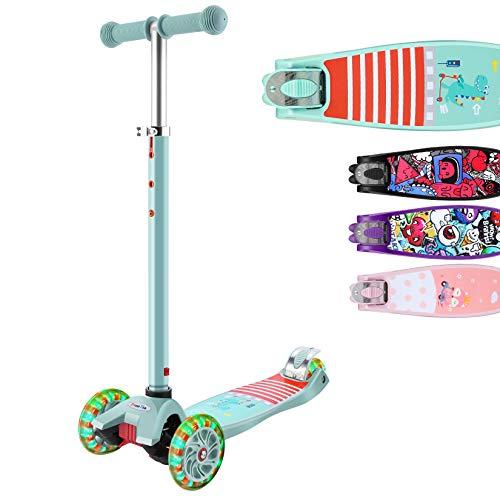 Hikole Trottinette 3 Roues pour Enfants Scooter en Portable pour 3-12 Ans, Modèle Pliable, Poignées Ajustable, Jusqu'à 110lb