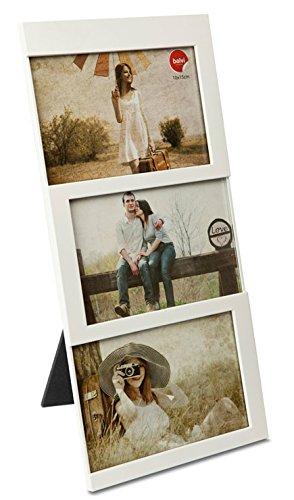 balvi Fotorahmen Dijon Weiß Fassungsvermögen: 3 Fotos mit den Abmessungen 10 x 15 cm Fotorahmen Tischmodell Kunststoff 34 x 16 cm
