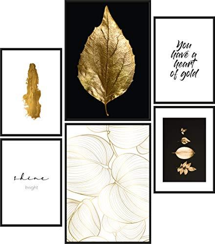 Papierschmiede Mood-Poster Set Blattgold   Bilder als Wanddeko   Wohnzimmer & Schlafzimmer   2x DIN A4 und 4x DIN A5   Shine Bright Golden - ohne Rahmen