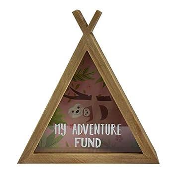 Xpressions Sloth Wooden Money Box My Adventure Fund - Fun Lazy Animal Design - Piggy Bank