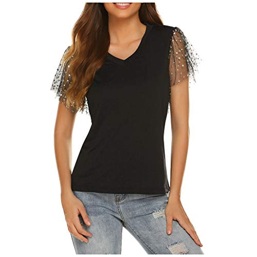 New Women's Short-Sleeved Sweet Star Mesh Stitching V-Neck Loose Tops Black