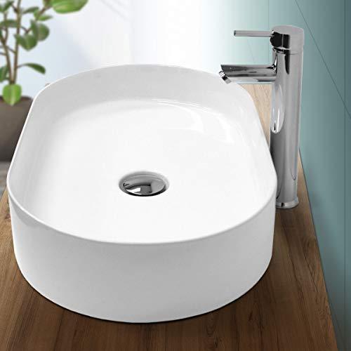 ECD Germany Waschbecken Waschtisch - 605x380x125 mm - aus Keramik - Oval - Weiß - Aufsatzbecken Aufsatzwaschbecken Waschschale Handwaschbecken Aufsatzwaschtisch Spülbecken Wasserfall Waschchlüssel