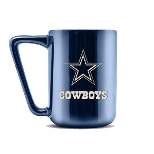 NFL Dallas Cowboys Keramik-Kaffeetasse mit Metallic-Finish | professionelle Keramik | Lasergraviertes Team-Logo | BPA-frei | spülmaschinenfest | 473 ml