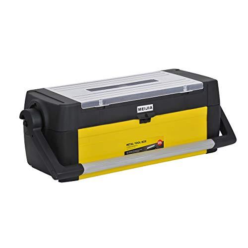 MEIJIA Caja de almacenamiento portátil para herramientas, organizadores con pestillos y bandeja desmontable, negro y amarillo (63,5 cm)