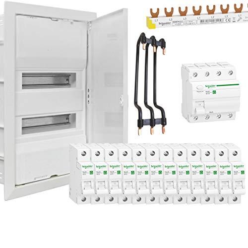 WITTKOWARE Unterputz Elektroverteilungs-Paket, 2-reihig, weiß, Stahlblechtüre, 1x FI-Schalter 40A/0,03, 12x LS-Schalter B16A, Phasenschiene, Reihenbrücken