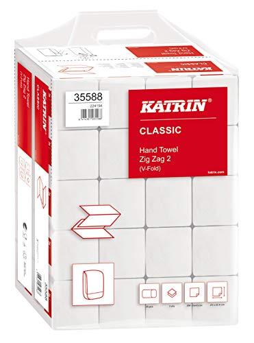 KATRIN® Papierhandtuch, CLASSIC Zig Zag 2, Tissue, 2lagig, V-Falzung, 20 x 200 Tücher, 23 x 24,4 cm, weiß (4.000 Stück), Sie erhalten 1 Karton á 4000 Stück