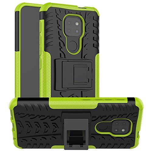 LFDZ Funda Motorola Moto G9 Play,con Soporte Cáscara de Doble Capa de Cubierta Heavy Duty Silicona Caso Funda para Motorola Moto G9 Play Smartphone(Not fit Moto G9 Plus),Verde