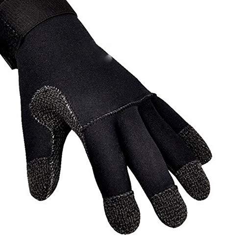 CattleBie 3MM Tauchhandschuhe Schnorcheln Handschuhe Unterwasserfischen-Gerät Anti-Rutsch-Verschleißfest Winterschwimmen Handschuhe (Color : Black, Größe : M)
