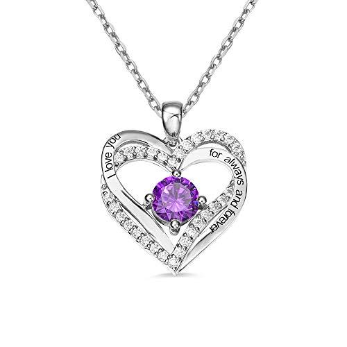 Collares personalizados con piedra natal de doble corazón para mujer, plata de ley 925, chapado en oro rosa, colgante de 14-22 pulgadas, collar de aniversario, regalo de cumpleaños para esposa/novia