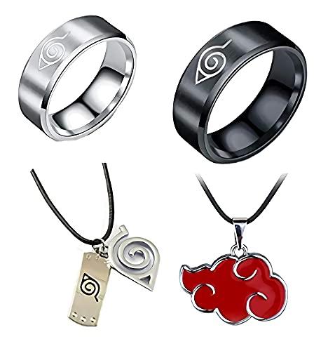 Imcneal Paquete de 4 anillos Naruto de acero inoxidable clásicos para hombre, cosplay y oro negro con collar