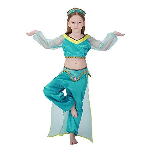 NIMIFOOL Disfraces para niños Material De Poliéster Niña Verde Traje árabe Familia De Padres E Hijos Adecuado para La Fiesta Escolar De Halloween,M